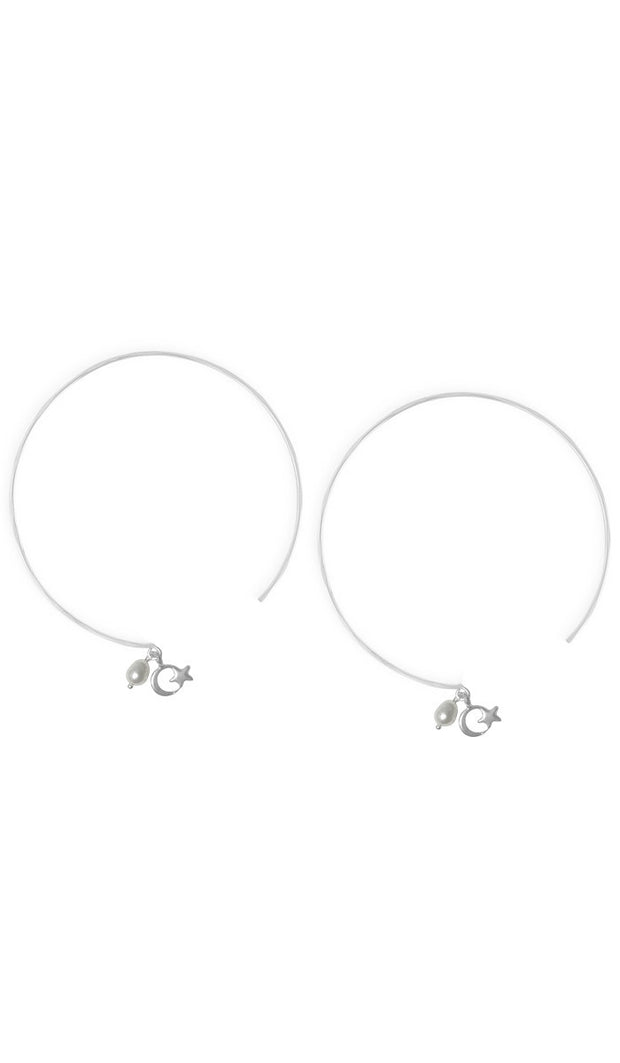 Sterling Silver Crescent and Star Light Hoop Earrings - ARTIZARA.COM