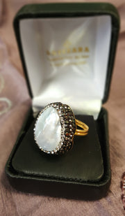 Mother of Pearl and Smoky Crystals Teardrop Ring