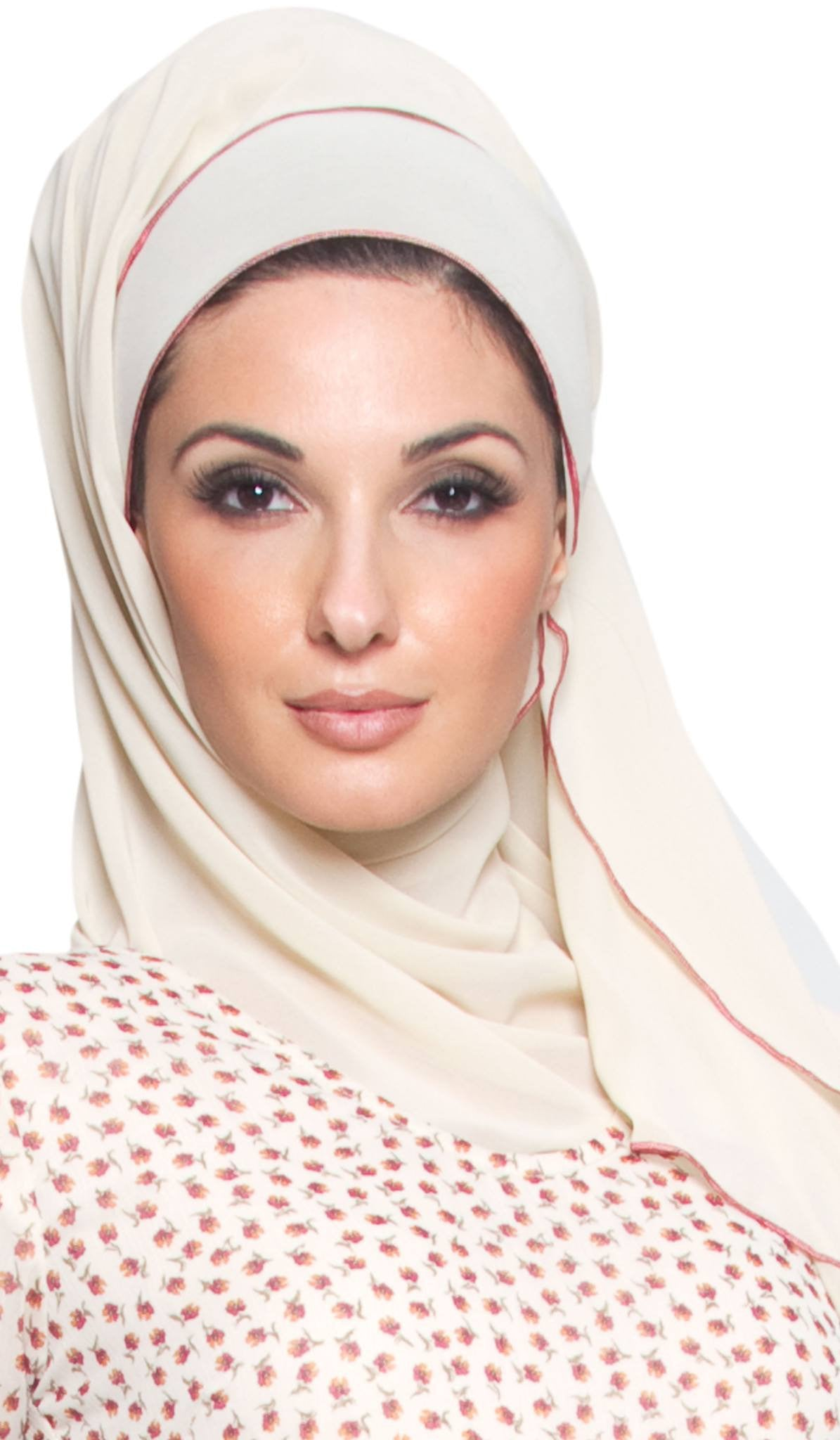 Soft Chiffon Rectangular Wrap Hijab Scarf with Contrast Edge - Creamy Beige
