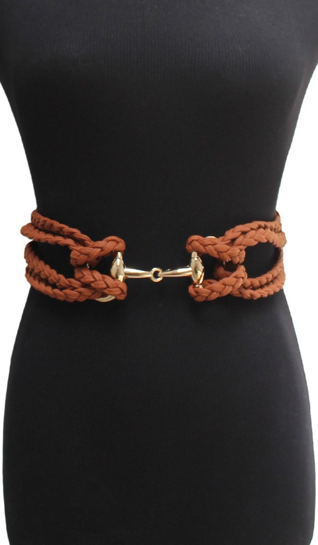 Multi-Braided Adjustable Elastic Belt - Brown - ARTIZARA.COM