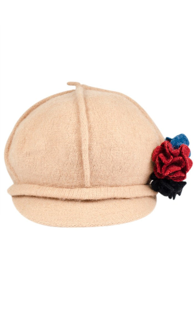 Roomy Wool Newsboy Hat with flower pin - Tan - ARTIZARA.COM