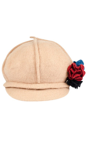 Roomy Wool Newsboy Hat with flower pin - Tan