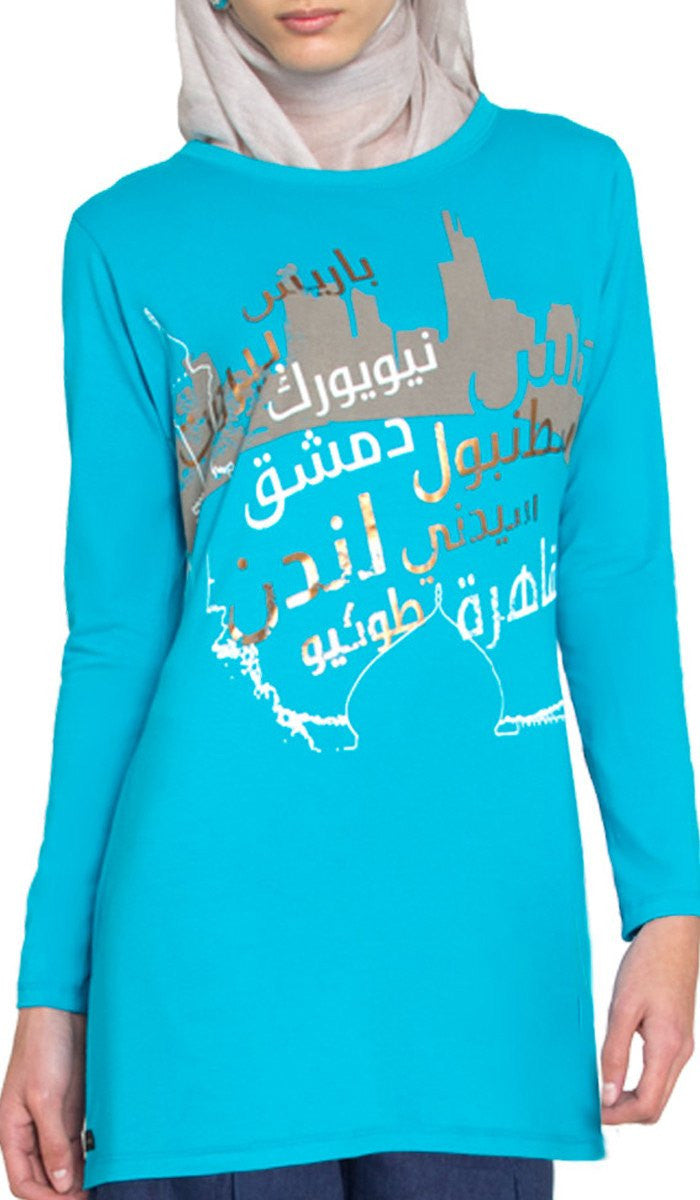 One World Designer Long Muslim T Shirt - Turquoise Bue