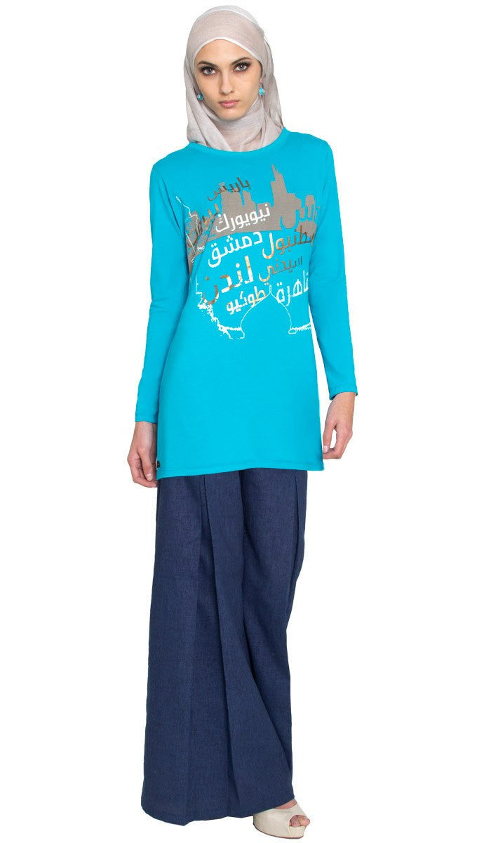 One World Designer Long Muslim T Shirt - Turquoise Bue - ARTIZARA.COM
