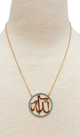 Goldplated Sterling Silver & Turquoise Allah Necklace - ARTIZARA.COM