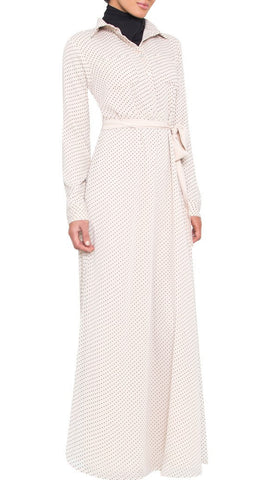 Uma Dot Print Chiffon Maxi Dress - Off White - ARTIZARA.COM