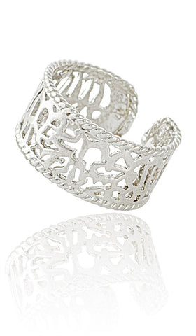 Sterling Silver Non Tarnish Adjustable Shahadah Band Ring - ARTIZARA.COM