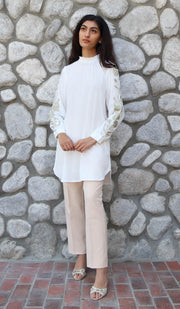 Bushra Embroidered Formal Long Modest Tunic - Off White - PREORDER