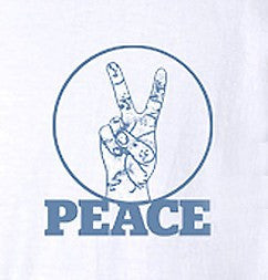 Mens Peace V Sign Short Sleeve Designer Tee - White - ARTIZARA.COM