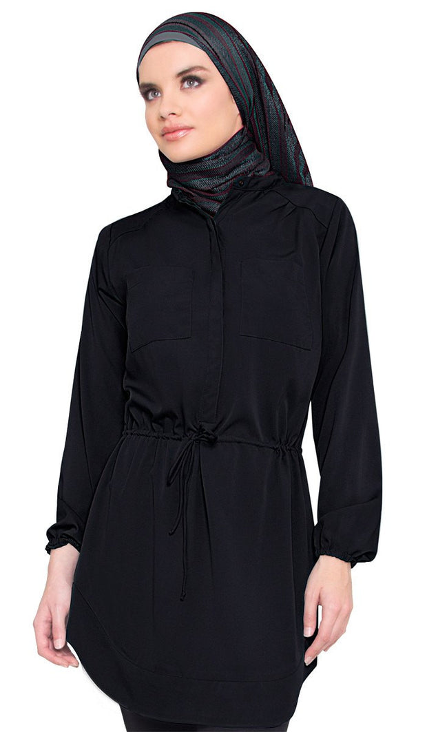 Vanessa Long Tunic Dress - Black - ARTIZARA.COM