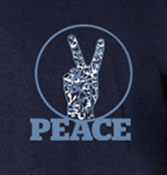 Mens Peace V Sign Short Sleeve Designer Tee - Navy