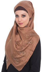 Warda Formal Embroidered Silk Shayla Hijab Scarf - Brown - ARTIZARA.COM