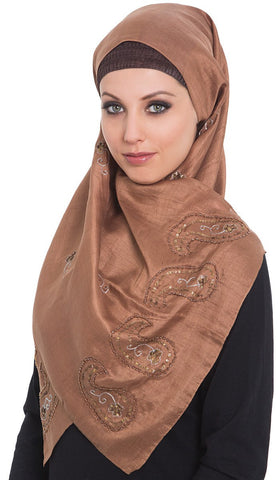 Warda Formal Embroidered Silk Shayla Hijab Scarf - Brown