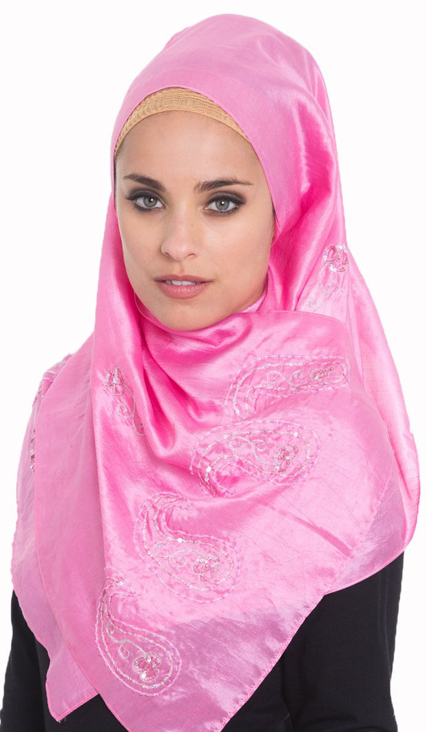 Warda Formal Embroidered Silk Wrap Hijab Scarf - Pink - ARTIZARA.COM