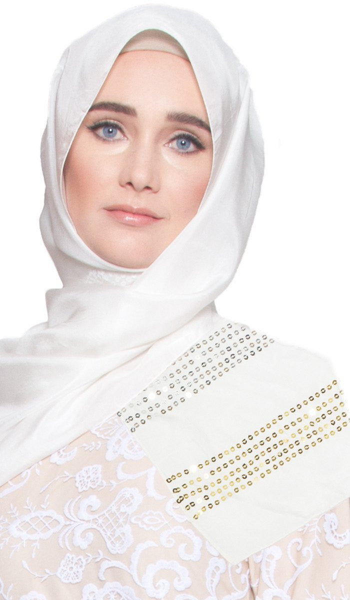 Formal Silk Wrap Hijab Scarf with Sequins - Off White - ARTIZARA.COM
