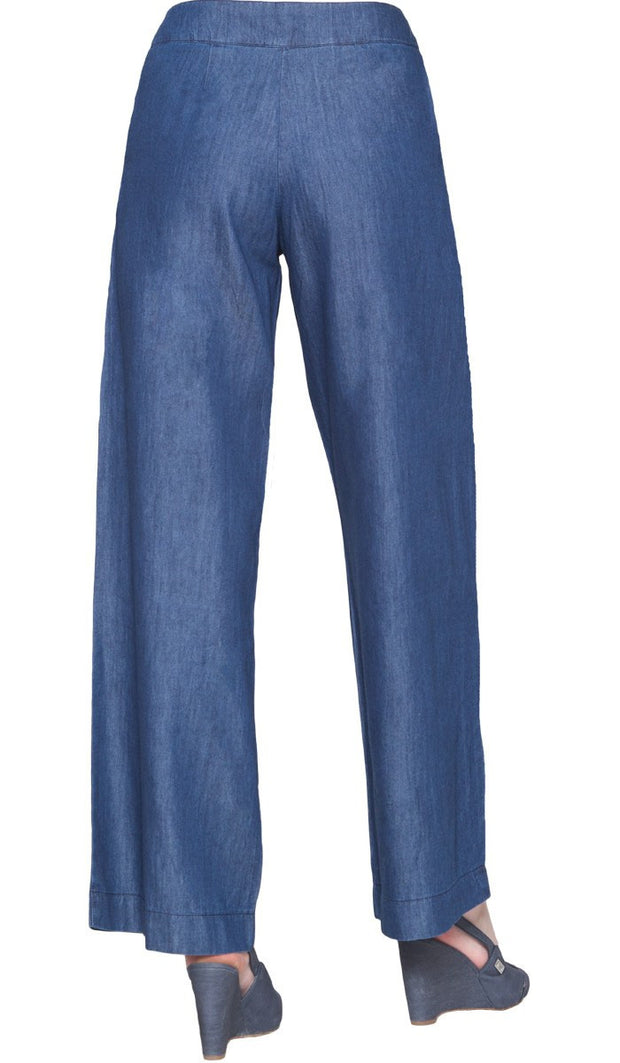 Essential Tencel Blend Wide Leg Pants - Denim Blue - ARTIZARA.COM