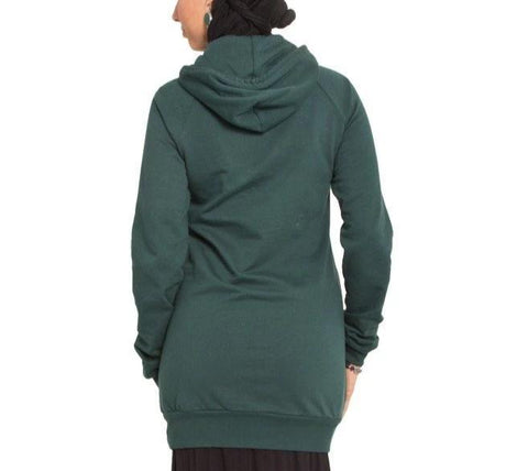 """One World"" Designer Long Forest Green Hoodie - One Size (fits XS-M)"
