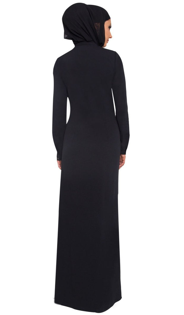 Wow Long Sleeve Modest Muslim Formal Abaya Dress - Black - ARTIZARA.COM