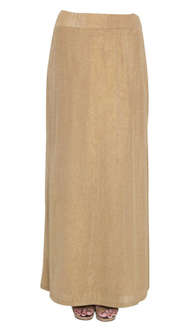 Zoe Metallic Long Knit Skirt - Bronze Gold - ARTIZARA.COM
