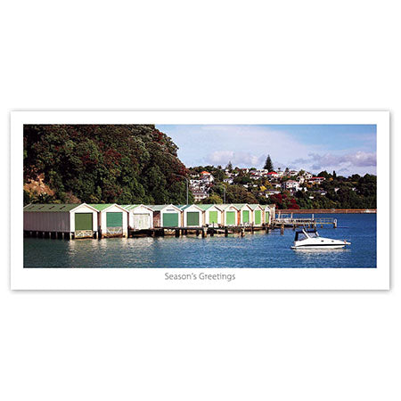 Seasons Greeting Card - Historic boat sheds