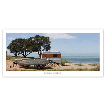 Seasons Greeting Card - Beach side caravan