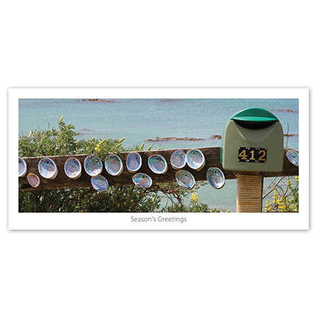 Seasons Greeting Card - Letter box with shell