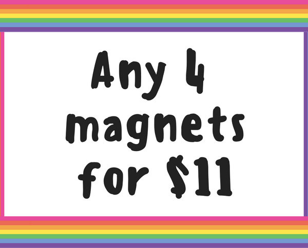Fridge magnet deal // Four 1.25 inch magnets - Radical Buttons