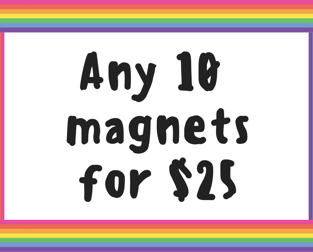 Fridge magnet deal / Ten 1.25 inch magnets - Radical Buttons