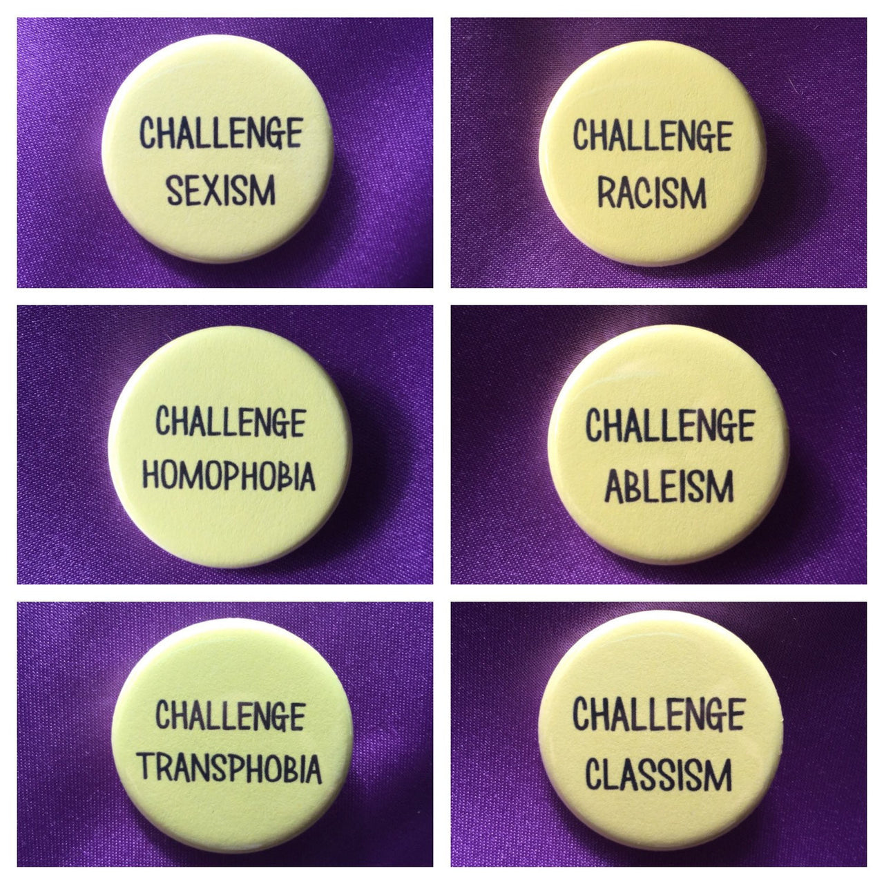 Challenge sexism / Challenge racism / Challenge transphobia / Challenge homophobia / Challenge ableism/classism - Radical Buttons
