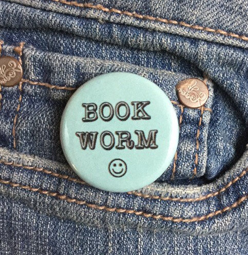 Book worm button - Radical Buttons