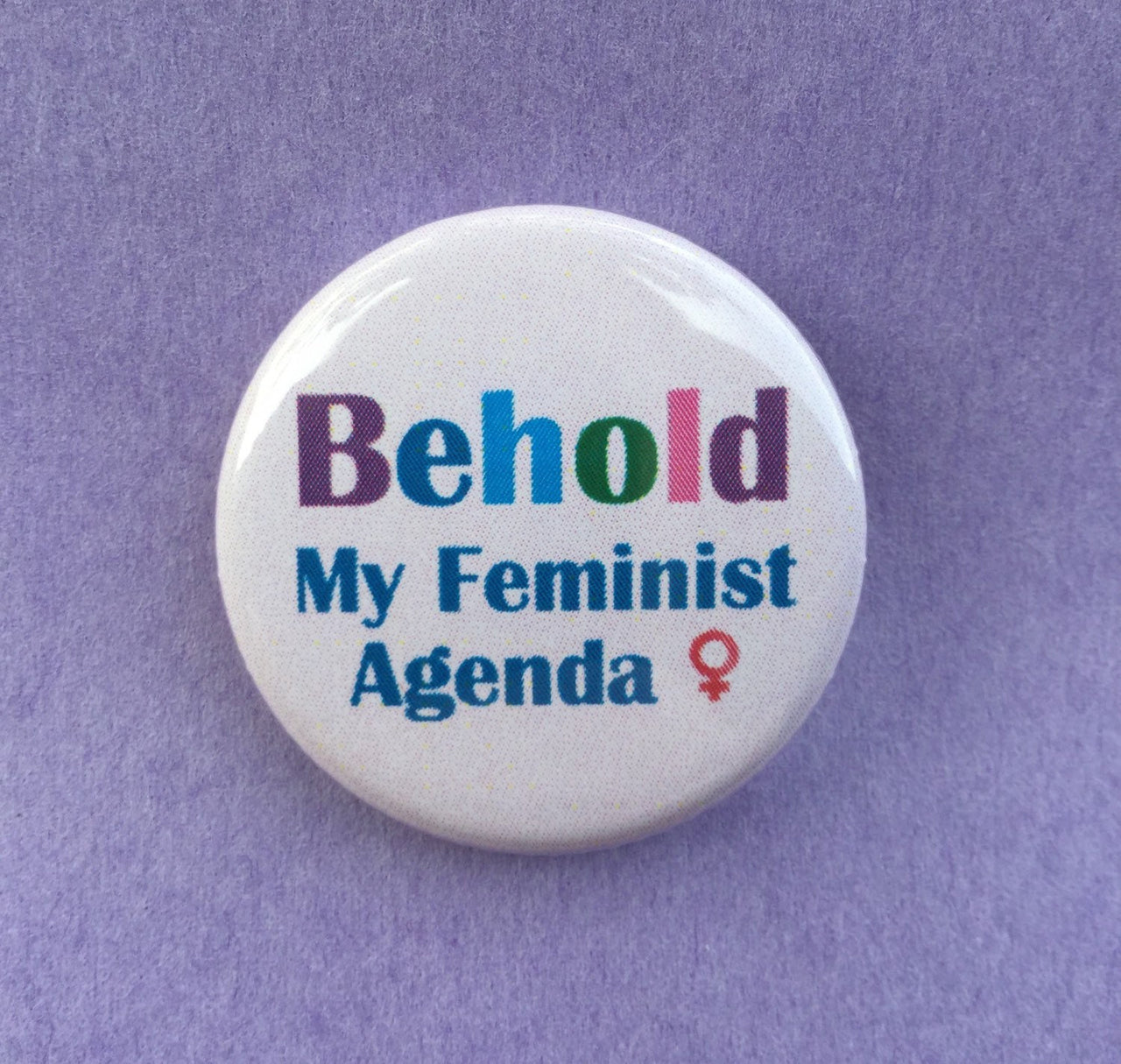 Behold my feminist agenda / Feminist button - Radical Buttons