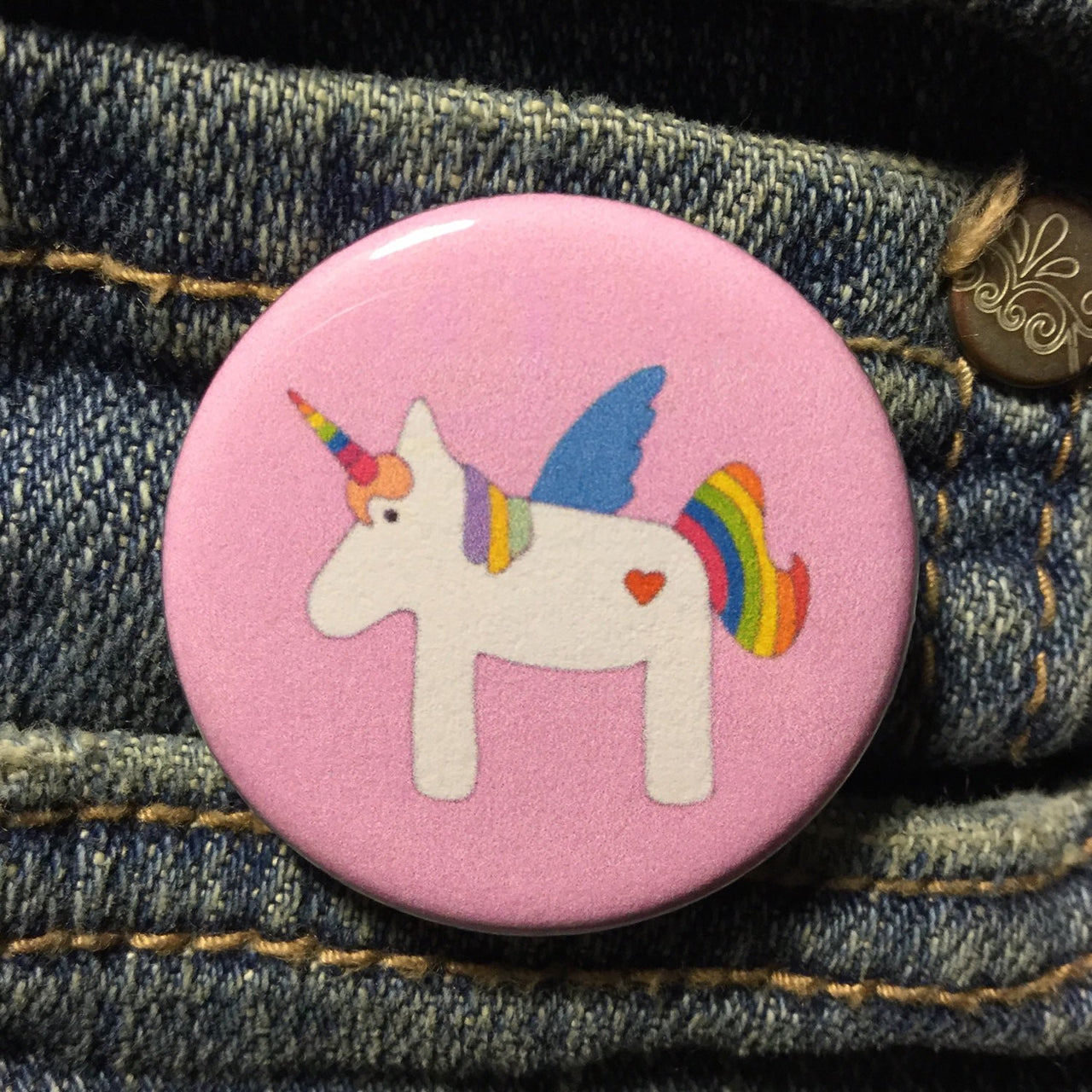 Rainbow unicorn button - Radical Buttons