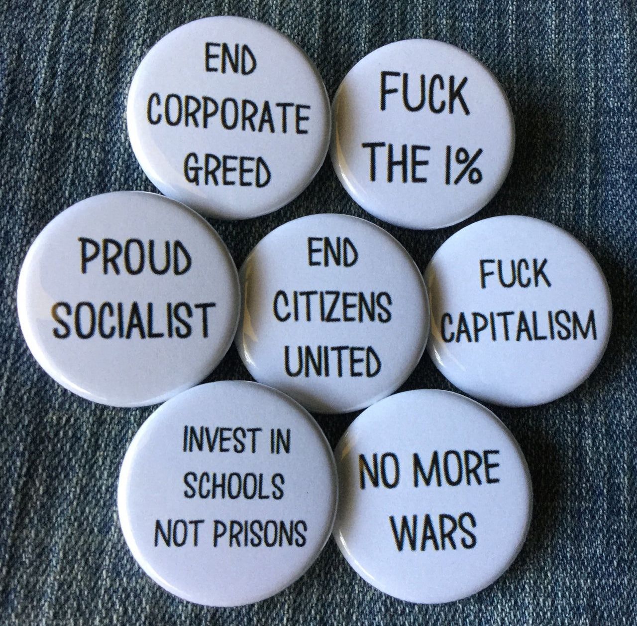 Anti-capitalist buttons - Radical Buttons