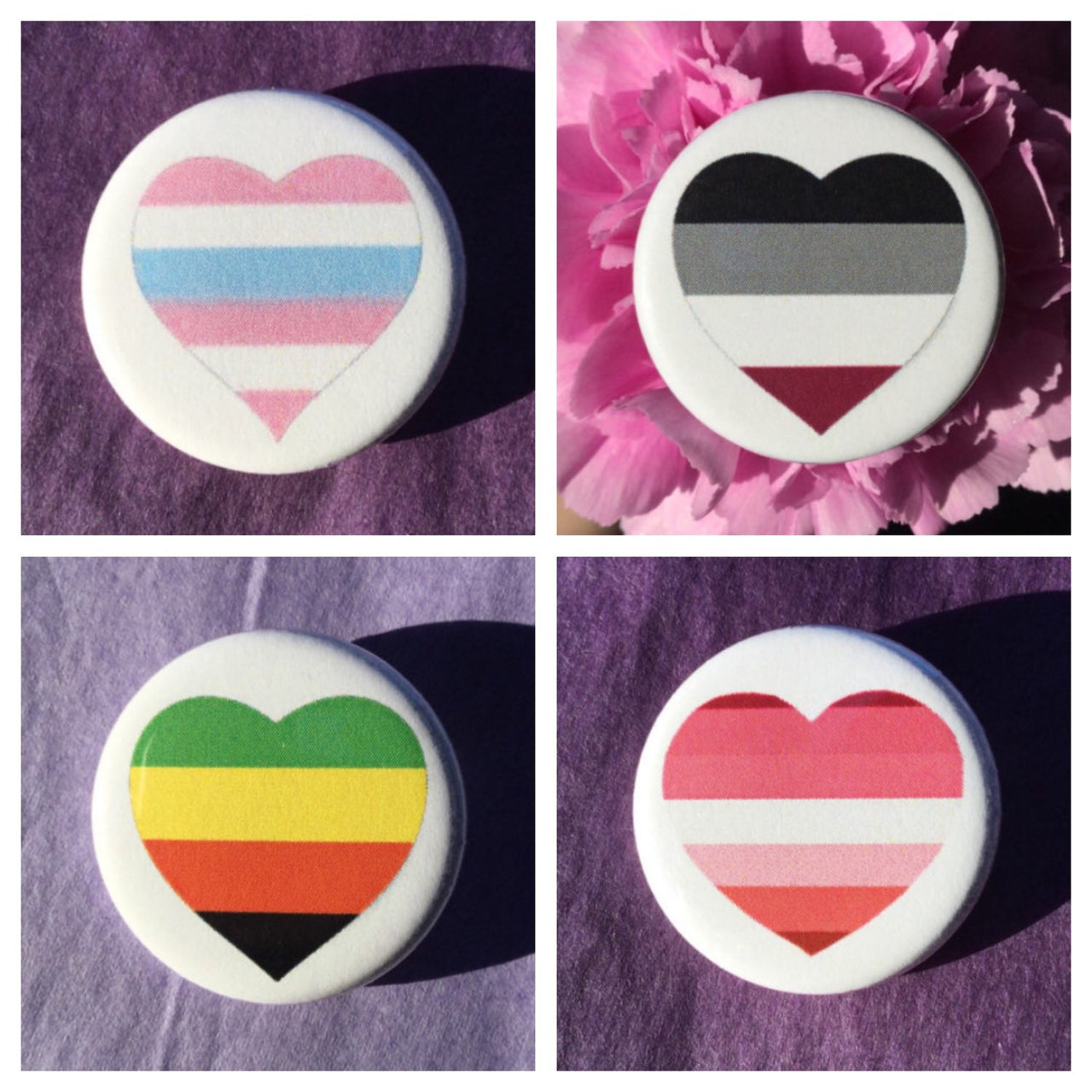 Pride buttons - Aromantic, intersex, lesbian, polysexual or asexual pride