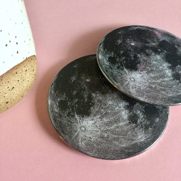 Moon coaster set / Moon drink coasters - Radical Buttons
