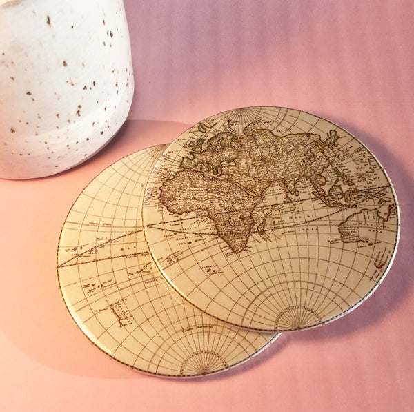 Old world map coaster set / World map drink coasters - Radical Buttons
