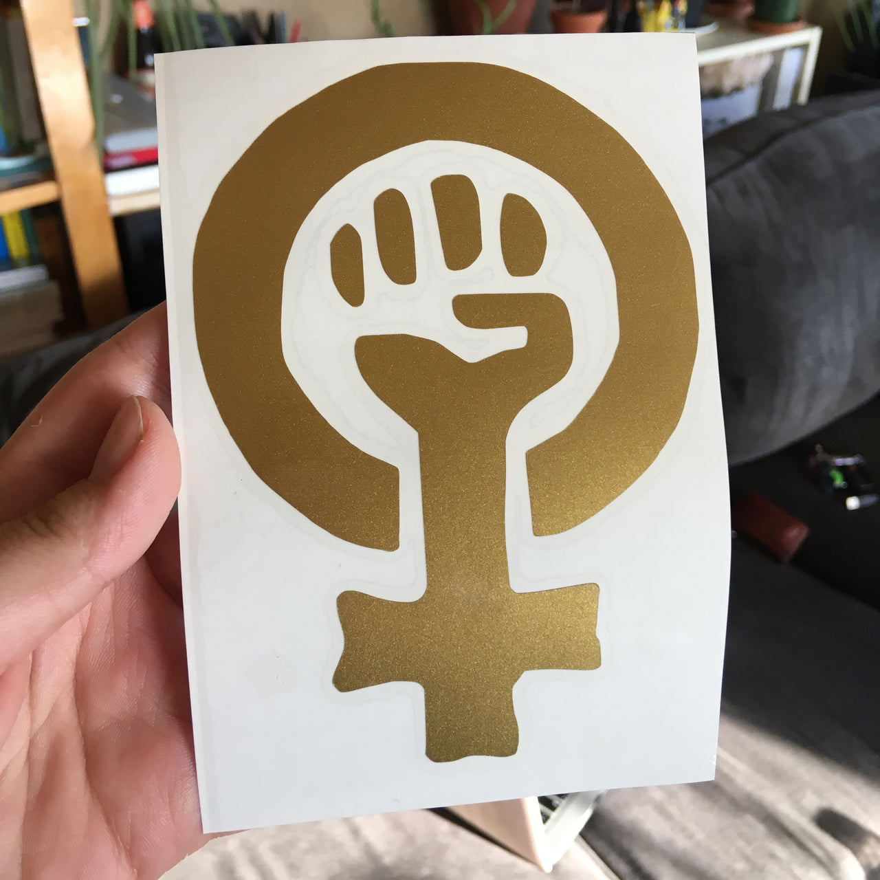 Gold feminist fist (black feminism) decal - Radical Buttons