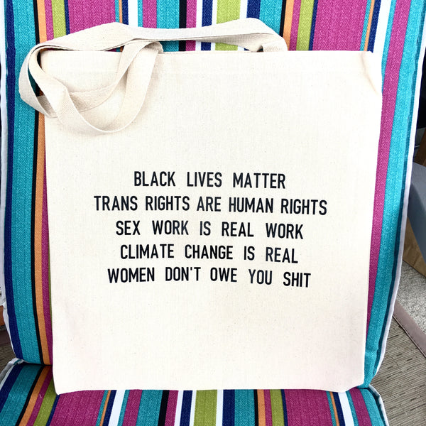 Black lives matter anti-oppression tote bag - Radical Buttons