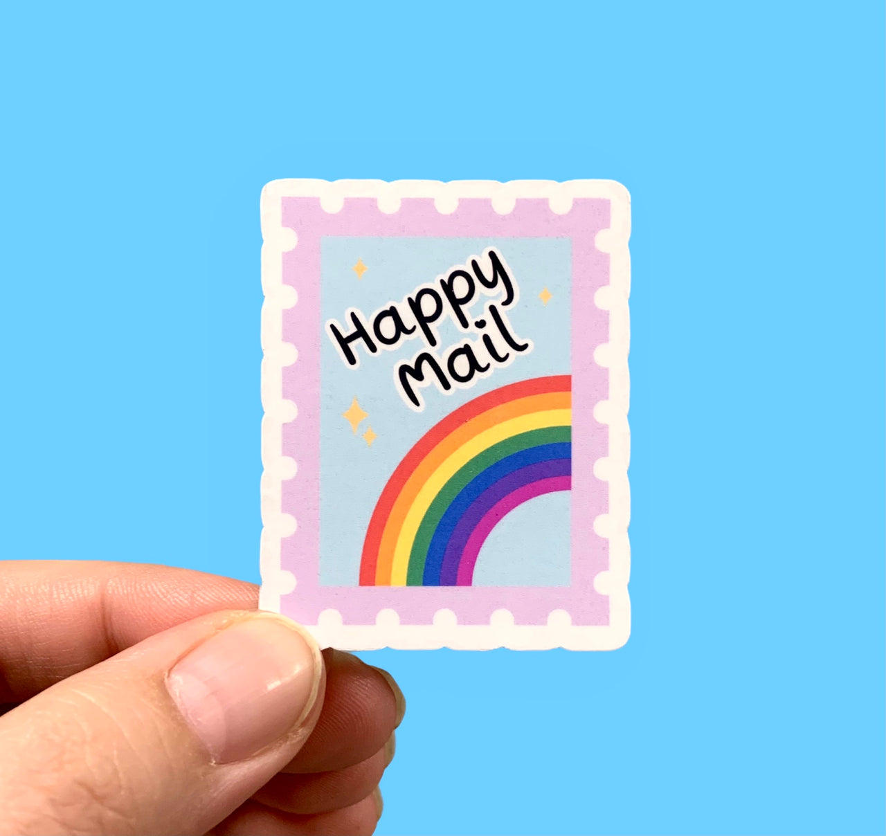 Happy mail rainbow stamp (pack of 3 or 5 stickers)