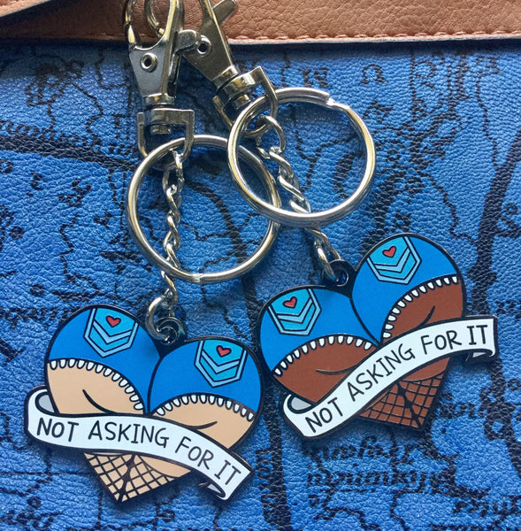 'Not asking for it' purse charm/keychain - Radical Buttons
