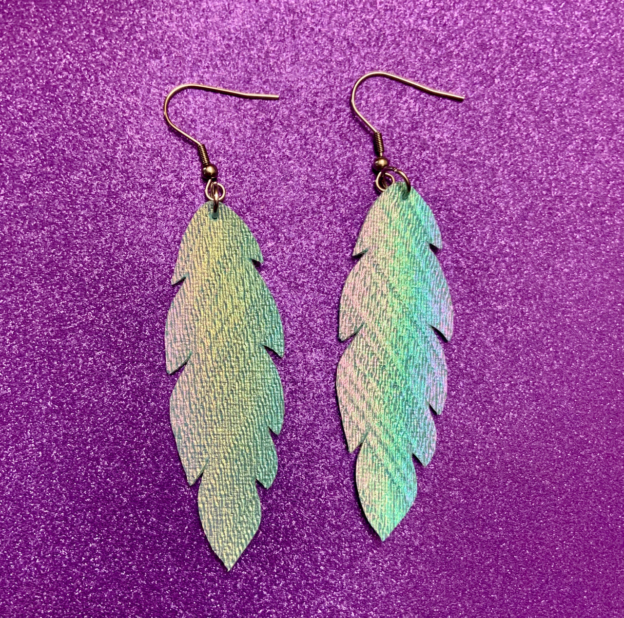 Feather vegan leather earrings