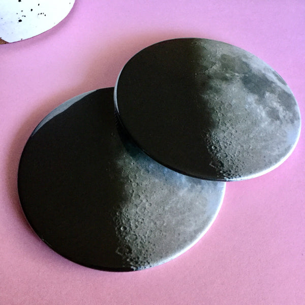 Half moon coaster set / Moon drink coasters - Radical Buttons