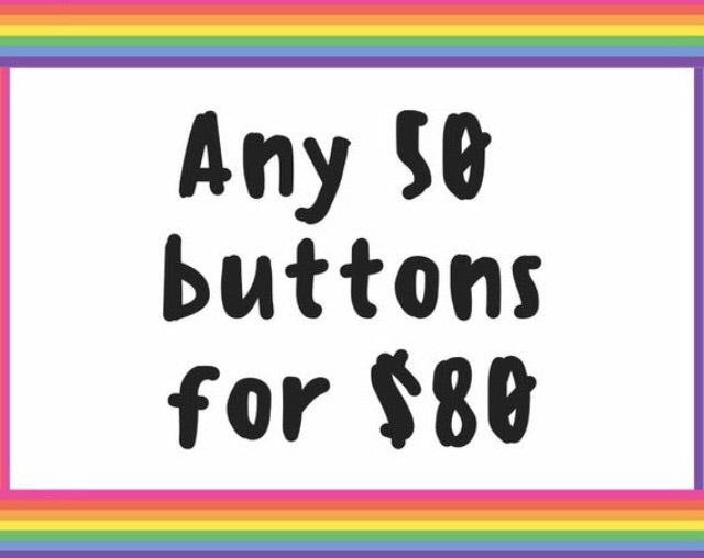 Button deal - Fifty 1.25 inch buttons - Radical Buttons