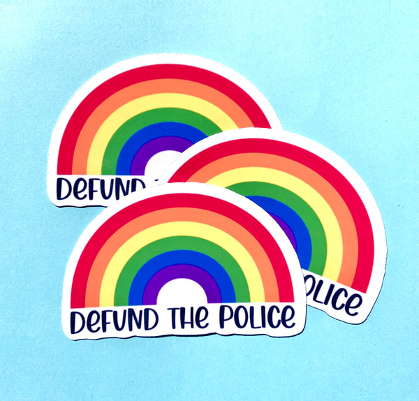 Defund the police rainbow stickers (pack of 3 or 5)