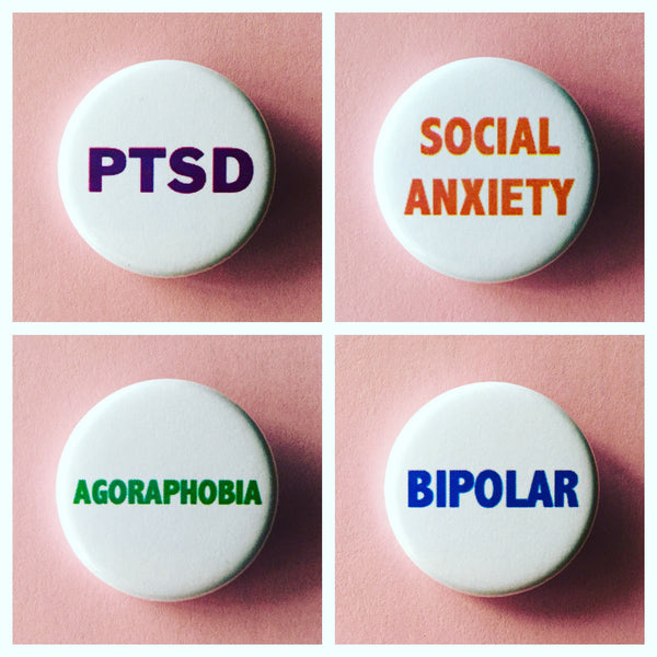 Social anxiety/Mental Health buttons - Radical Buttons