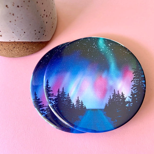Northern lights coaster set