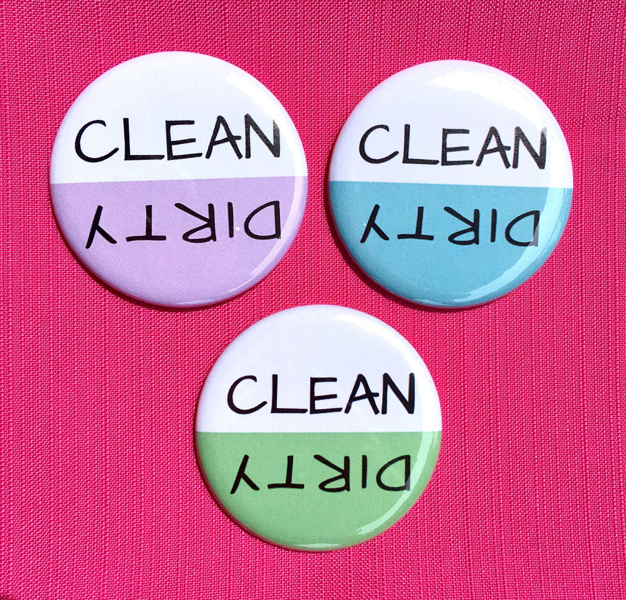 Clean/Dirty dishwasher magnet - Radical Buttons