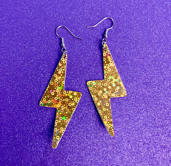 Lightening bolt vegan leather earrings