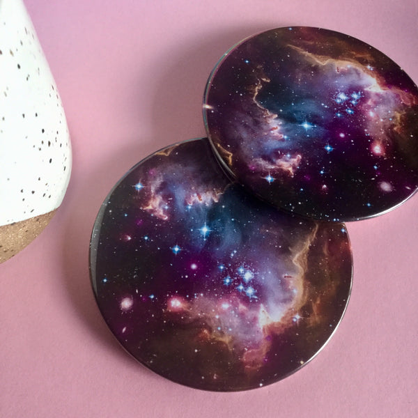 Galaxy coaster set / Galaxy drink coasters - Radical Buttons