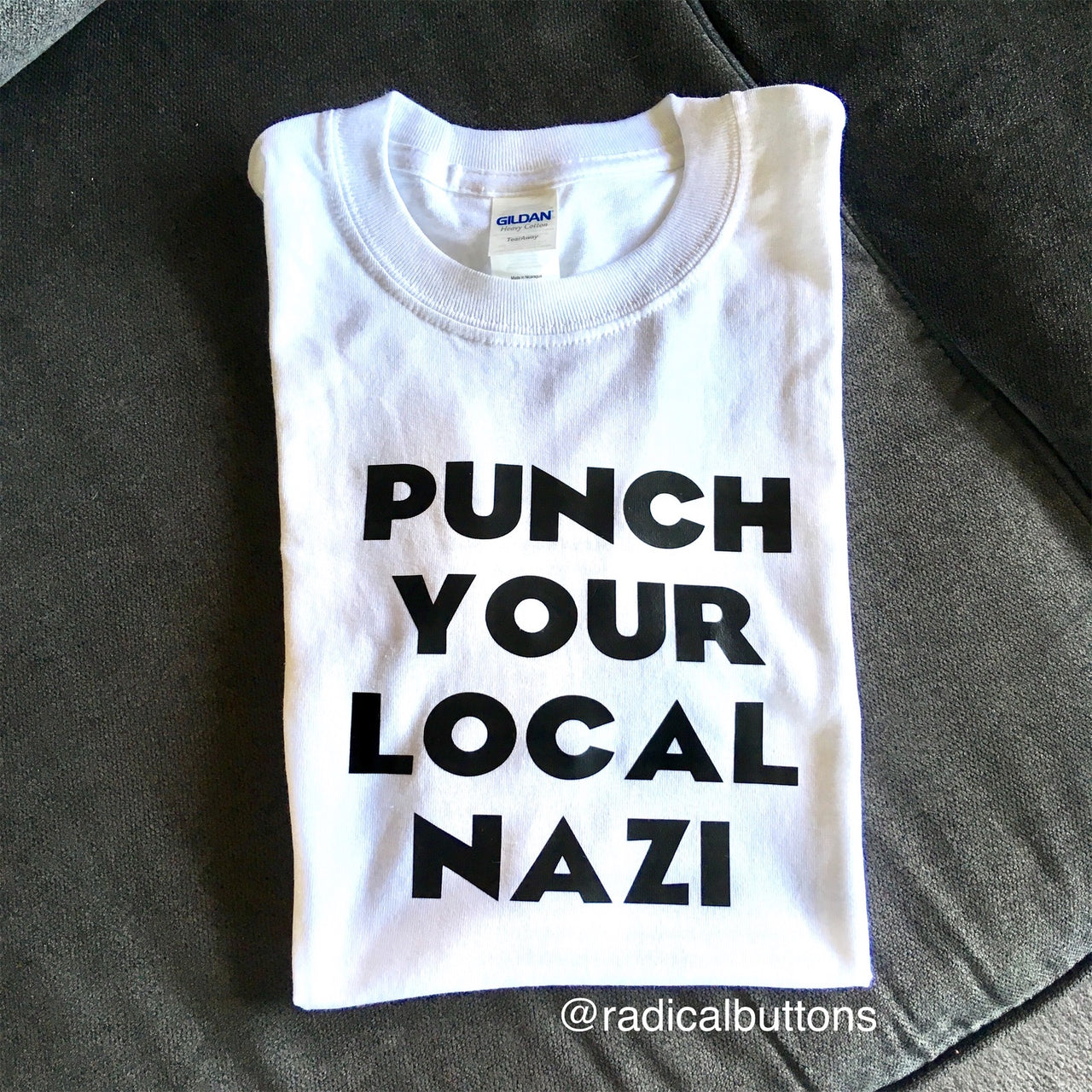Punch your local Nazi (white unisex tee) - Radical Buttons